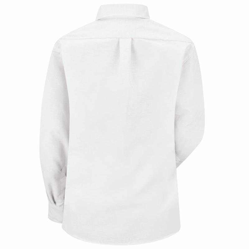 Sr71wh long sleeve women 39 s white executive button down shirt for Oxford long sleeve button down shirt