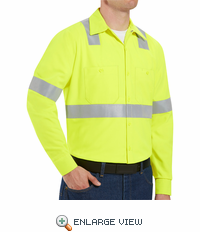 SS14HV Hi-Visibility Long Sleeve Work Shirt Class2 Level 2