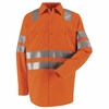 SS14OF Hi-Visibility Long Sleeve Fluoresent Orange Work Shirt Class3 Level 2