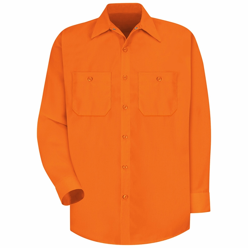 Ss14or hi vis fluorescent orange long sleeve shirt without for Hi vis shirts with reflective tape