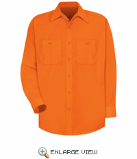SS14OR  Hi-Vis Fluorescent Orange Long Sleeve Shirt Without Reflective Tape