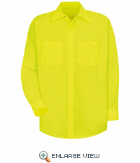 SS14YE  Hi-Vis Yellow/Green Long Sleeve Shirt  Without Reflective Tape