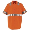 SS24O2  Hi-Visibility Short Sleeve Fluorescent Orange Work Shirt Class2 Level 2