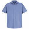 SS26MB Medium Blue Pocketless Performance Polyester Industrial Work Shirt