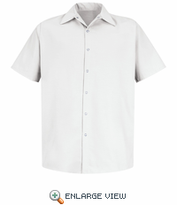 SS26WH Short Sleeve Pocketless White Performance Polyester Industrial Work Shirt