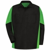 SY10BL Black / Lime  Long Sleeve Crew Shirt