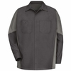 SY10CG Charcoal /Light Grey Long Sleeve Crew Shirt