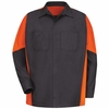 SY10CO Charcoal/Orange  Long Sleeve Crew Shirt