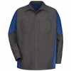 SY10CR Charcoal /Royal Blue Long Sleeve Crew Shirt