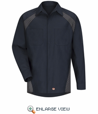SY16ND Navy Diamond Plate Shop Shirt - Long Sleeve