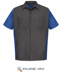 SY20CR Charcoal/Royal Blue Short Sleeve Crew Shirt
