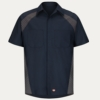 SY26ND Navy Diamond Plate Shop Shirt - Short Sleeve