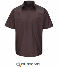 SY40RC Red/Charcoal Striped Short Sleeve Color Block Shirt