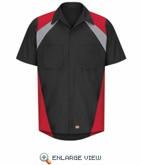 Tri-Color Shop Shirt Short Sleeve Black/Grey/Red SY28TR