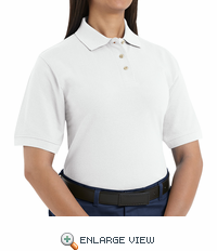 Women's Basic White 100% Cotton Pique Polo - 5702
