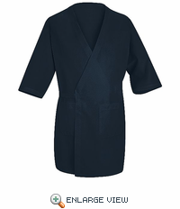 WP10NV Navy Collarless Butcher Wrap