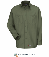 Wrangler Long Sleeve Olive GreenWorkshirt WS10OG