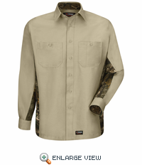 WS30KC Khaki/Camo Wrangler Long Sleeve Workshirt