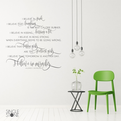 Audrey Hepburn Wall Decal Quote - I Believe In Miracles