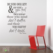 Be Who Your Are (Dr. Seuss)   Wall Decals Part 77