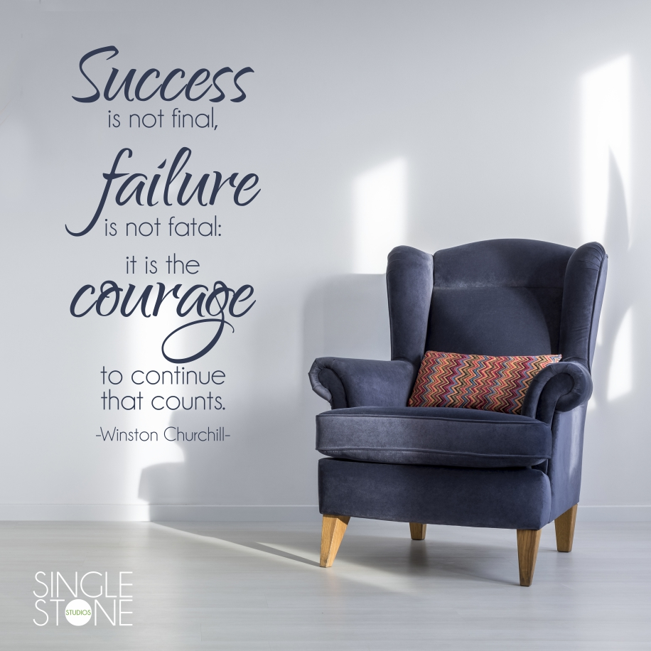 Courage To Continue   Winston Churchill   Wall Decal Quote
