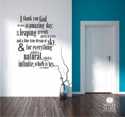 ee cummings Thank You God - Wall Decals
