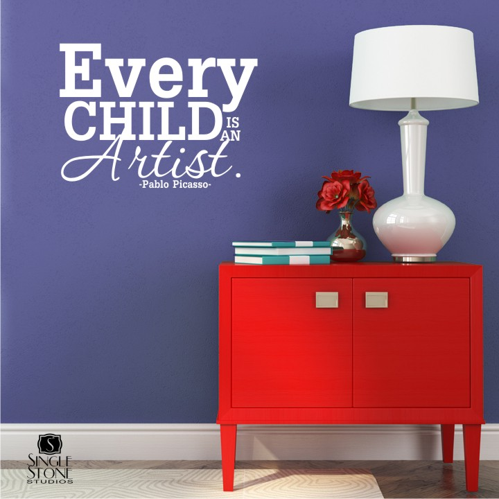 Every Child Is An Artist Picasso - Wall Decals - Wall Decals | Wall ...