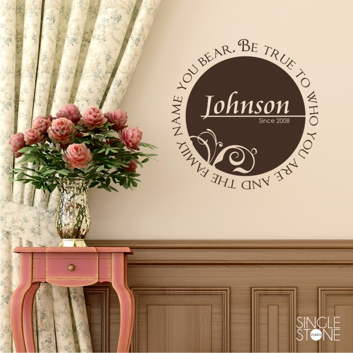 Family Name Monogram Be True Wall Decals Wall Decals Wall - Monogram vinyl wall decals
