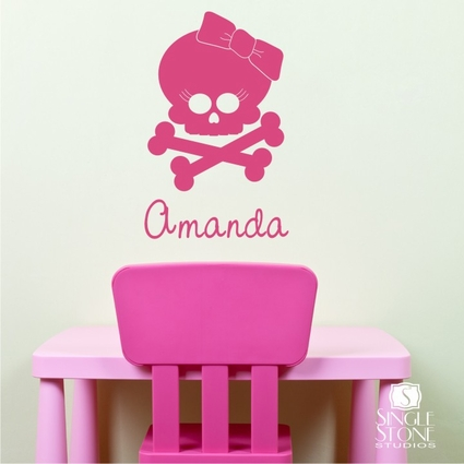 Girl Skull With Bow - Wall Decals