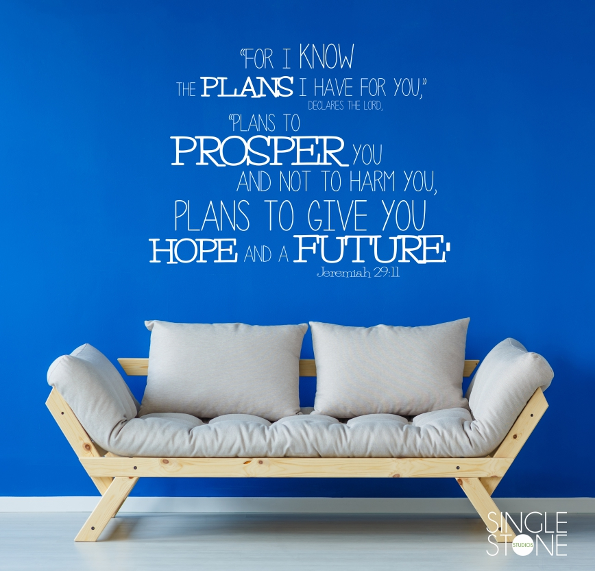 Jeremiah 29:11 Bible Verse   Wall Decals