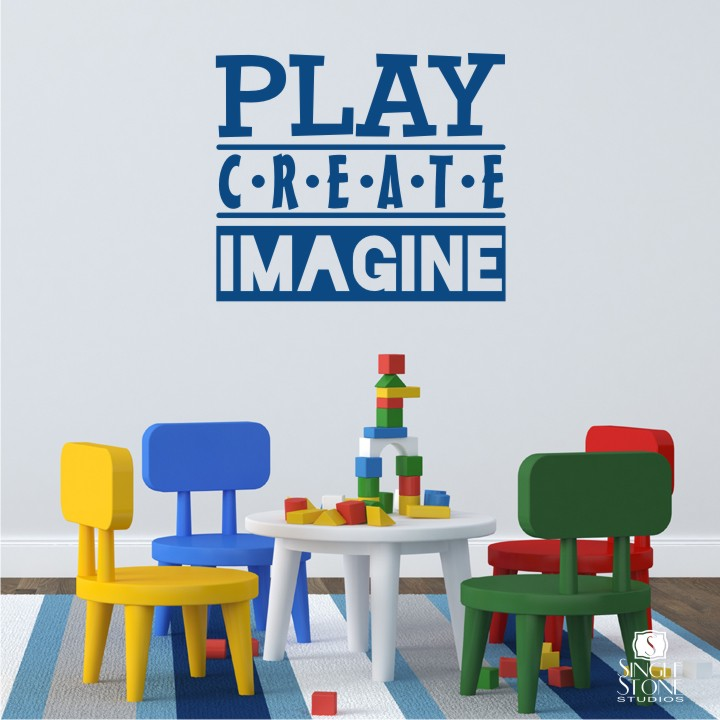 Play create imagine wall decals