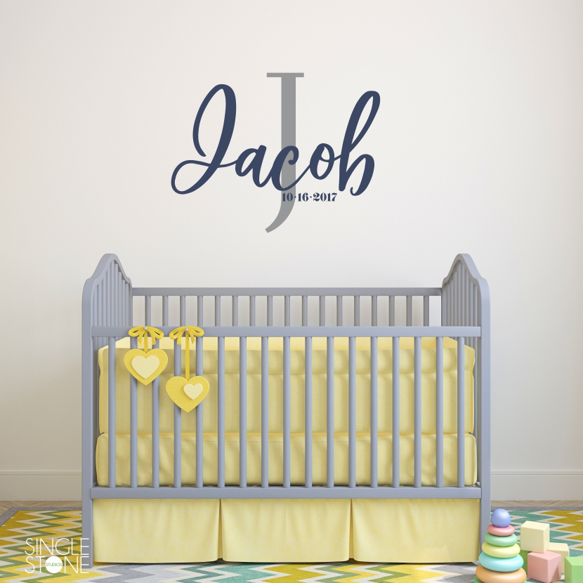 Simple Nursery Monogram Wall Decal