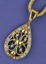 Antique Gold Patriotic Teardrop Neckslide