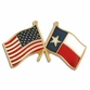 Crossed US/ Texas Flag Lapel Pin
