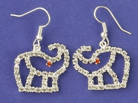 Crystal Outline Elephant Earrings