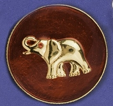 Elephant on Red Enamel