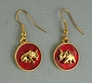 Elephant on Red Enamel Earrings