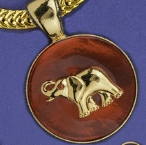 Gold Elephant on Red Enamel