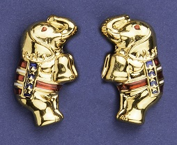 Gold Patriotic Standing Elephant Earrings