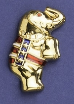 Gold Patriotic Standing Elephant Pin