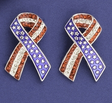 Patriotic Crystal Ribbon Earrings