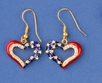 Patriotic Outline Heart Earrings