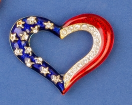 Patriotic Outline Heart Pin