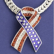 Patriotic Ribbon Neckslide with Crystals