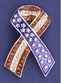 Patriotic Ribbon Pin with Crystals