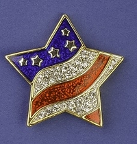 Patriotic Wavy Star Pin