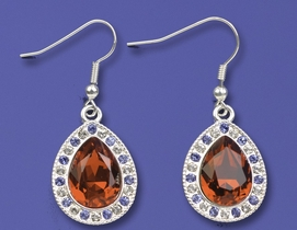 Ruby Colored Cut Glass Teardrop Earrings