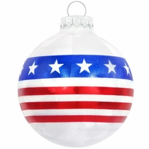 Stars And Stripes Flag Ice Crackle Glass Ornament