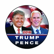 Trump Pence Button with Flag