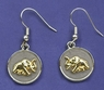 Two Tone Elephant Coin Earrings